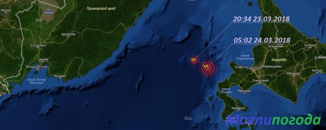 В Японском море произошло два землетрясения